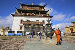 Tempel Janraisig Datsan in der Gandan-Klosteranlage in Ulan Bator