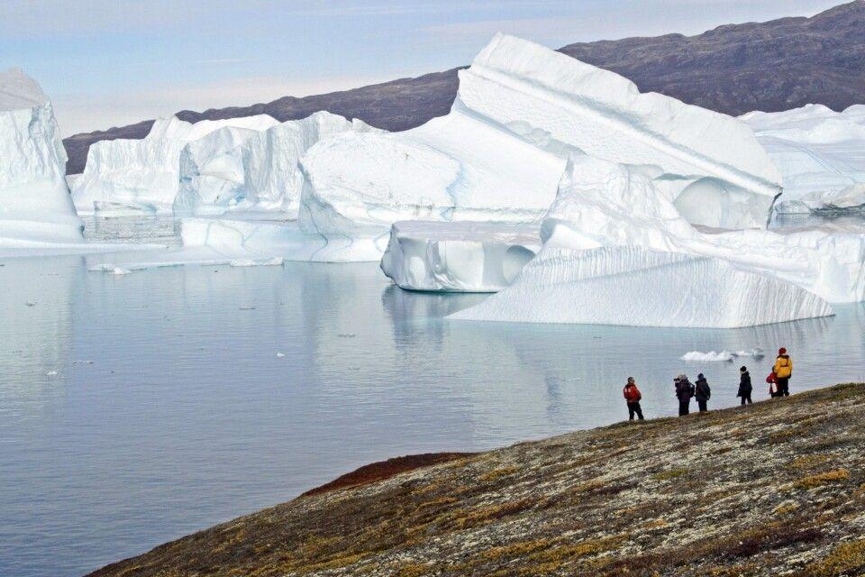 Der Mensch wirkt winzig vor der Kulisse der Eisberge