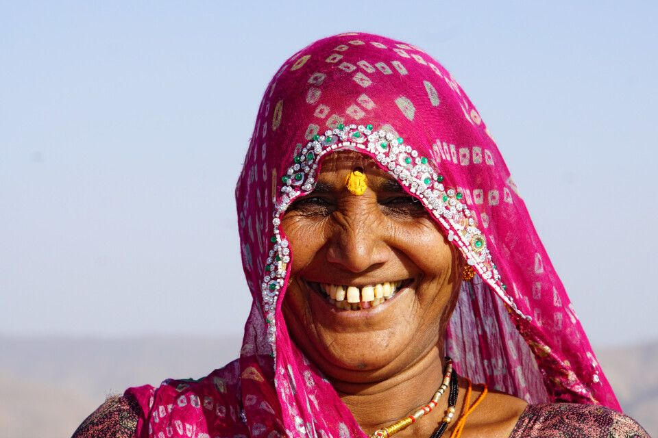 indische Frau mit Sari (ein indisches Gewand)