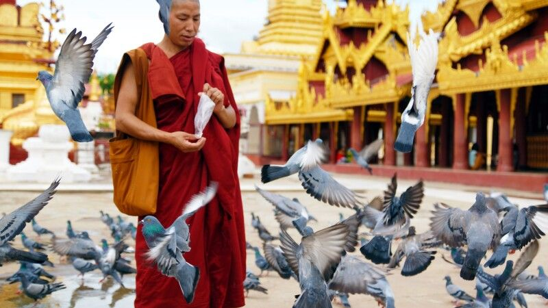 Begegnung an der Shwedagon-Pagode in Yangon © Diamir