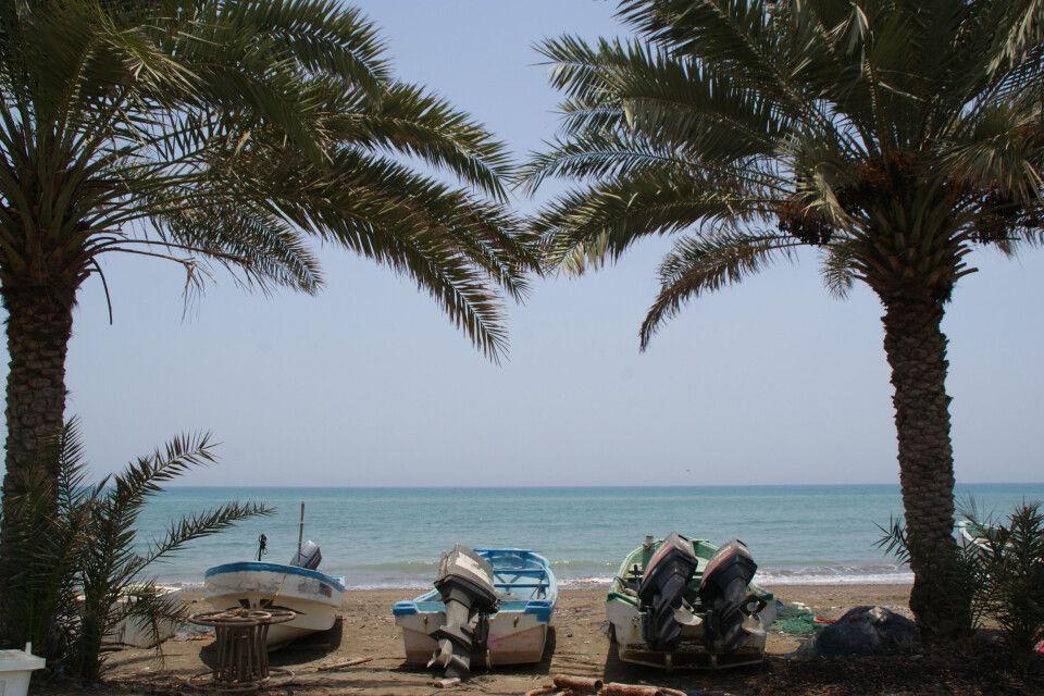 Fischerboot am Palmenstrand
