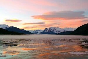 Sonnenaufgang am Calvo-Fjord